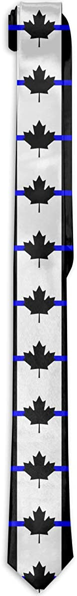 Flag Of The Thin Blue Line In Canada Mens & Boys Tie Fashion Necktie Classic Slim Neck Ties