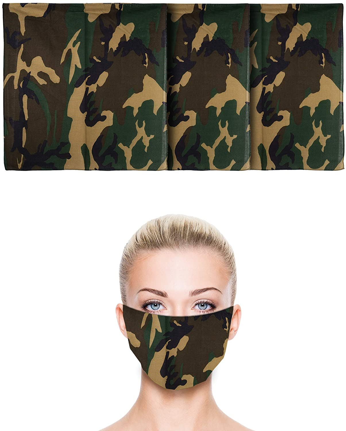 3 Pack | 100% Cotton U.S. Flag Bandana | Face Mask for Dust & Sun Protection | Nose Cover Scarf | 22