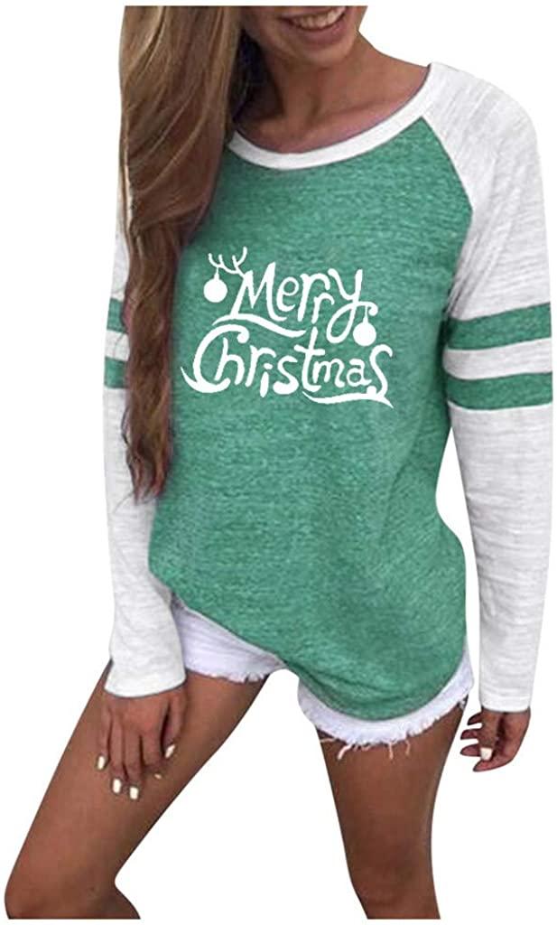 LEKODE Blouse Womens Christmas Printed O-Neck T-Shirt