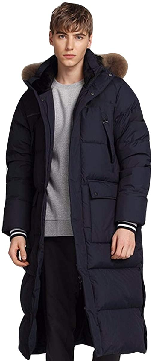 EBOOGE Mens Thickened Maxi Puffer Down Coat Bottom Slit Fur Hooded Down Parka