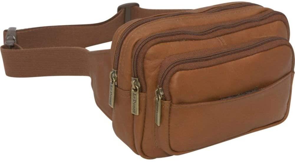 Le Donne Leather 4-Compartment Waist Bag – Premium Full-Grain Colombian Vaquetta Cowhide Leather Fanny Pack (Tan)