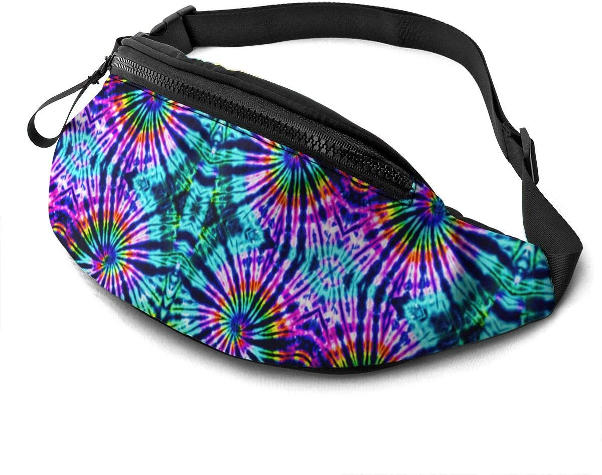 Tie Dye Perfection Fanny Pack For Men Women Waist Pack Bag With Headphone Jack And Zipper Pockets Adjustable Straps