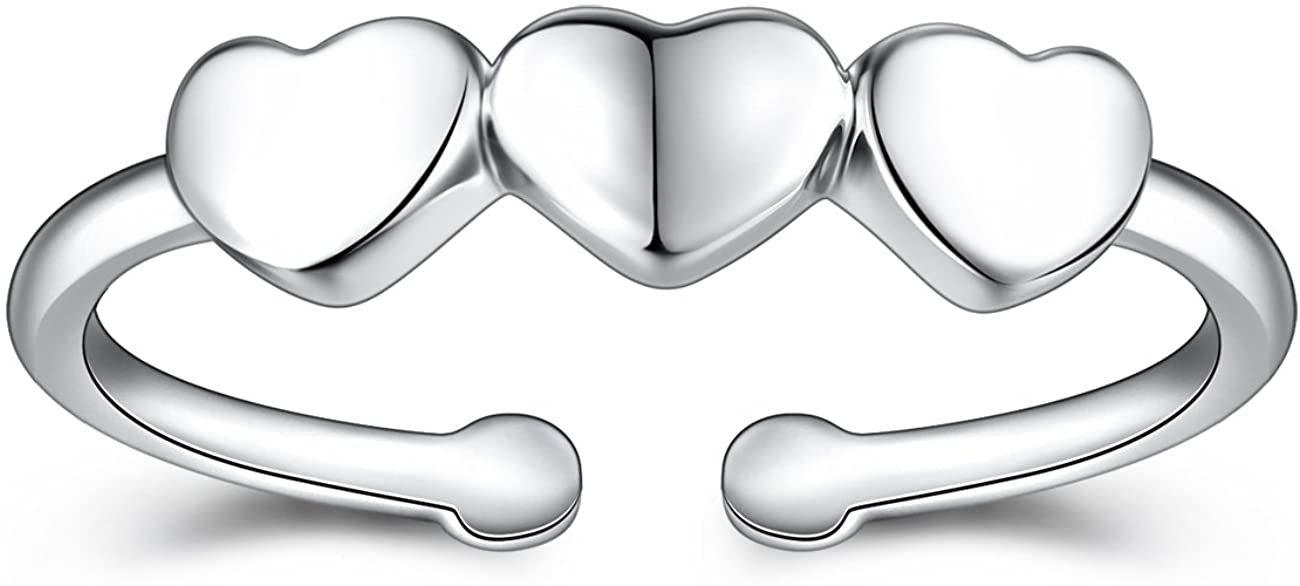 VG Studio Simple Three Cute Promise Heart Adjustable Open Rings, Silver Plated