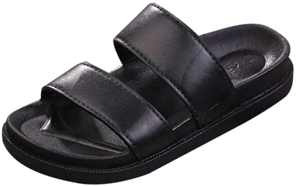 LEKODE Mens Slippers Leather Flats Beach Hole Shoes Sport Sandals Flip Flops Leisure