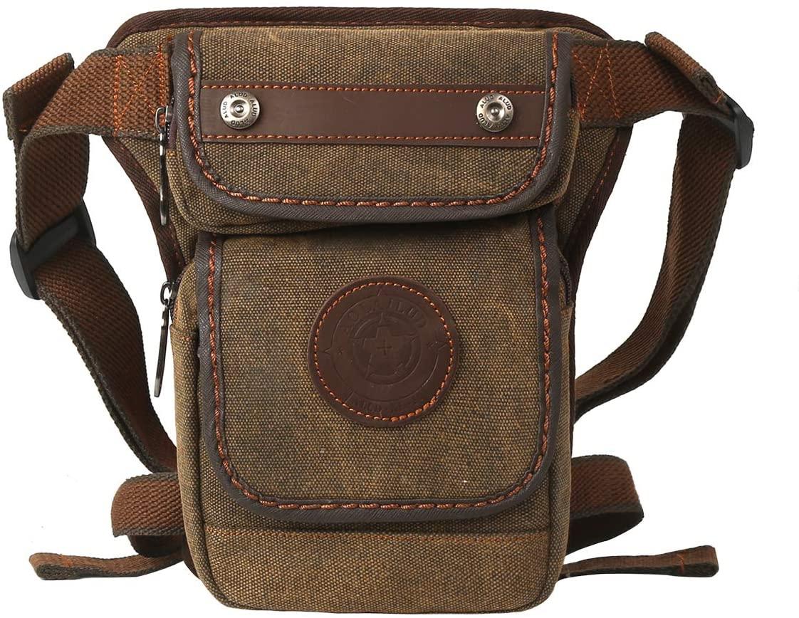 Eshow Men Canvas Drop Leg Bag Multi-Functional Fashionable Nylon Leg Strap Bag for Mountaineering and Outdoor Travel Convenient Leg Strap Bag Waist Fanny Pack Black