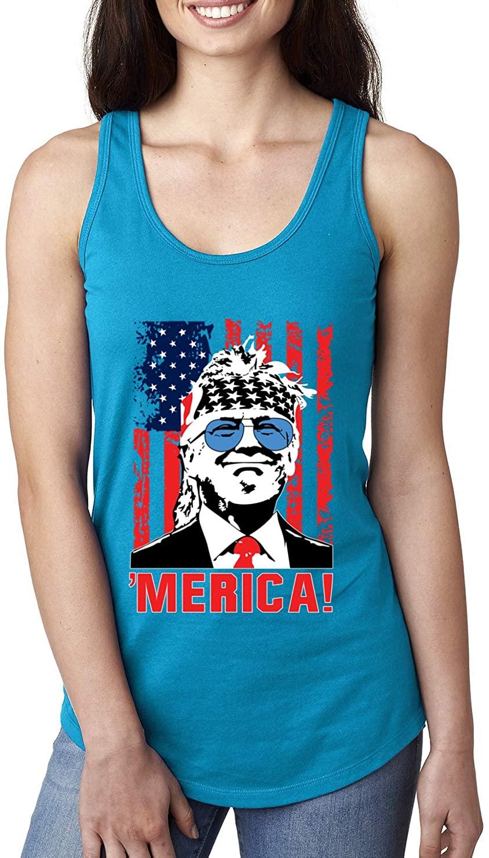 Merica Freedom Trump Classic 80s Republican USA Pride | Womens Political Jersey Racerback Tank Top
