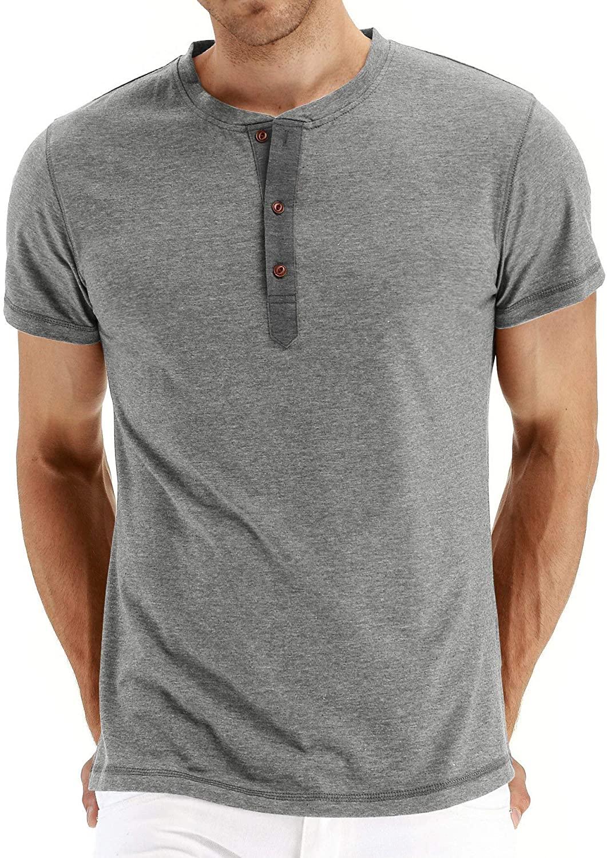 FTIMILD Men's Casual Henley T-Shirts Fashion Long/Short Sleeve Slim Fit Basic Cotton Shirts