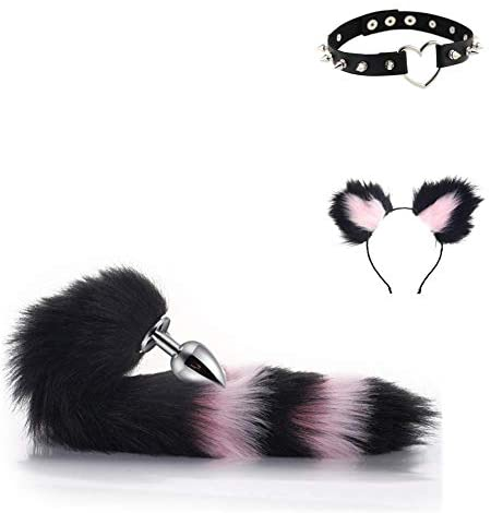 Pink&Black Comfortable Fox Tail an-àl Pl-úg, Cute Fox Ear Headband and Leather Collar Lover Gifts Cosplay Role Play Costume Accessories for Women - M
