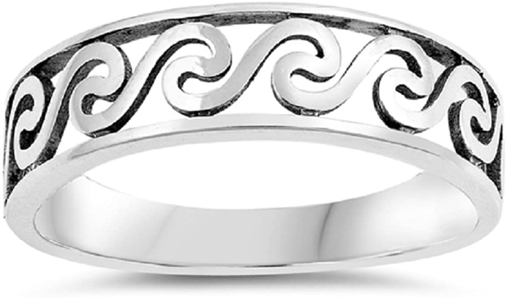 CloseoutWarehouse Oxidized Sterling Silver Plain Waves Style Ring