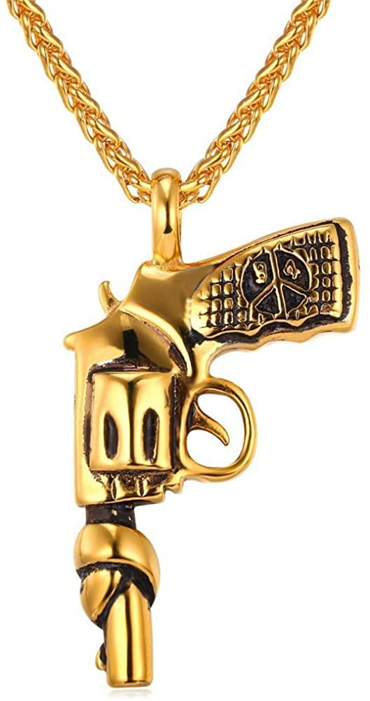 U7 American Style Hip Hop Chain Men Women Pendant Necklace Gold Plated Stainless Steel Vintage Revolver Handgun Necklace