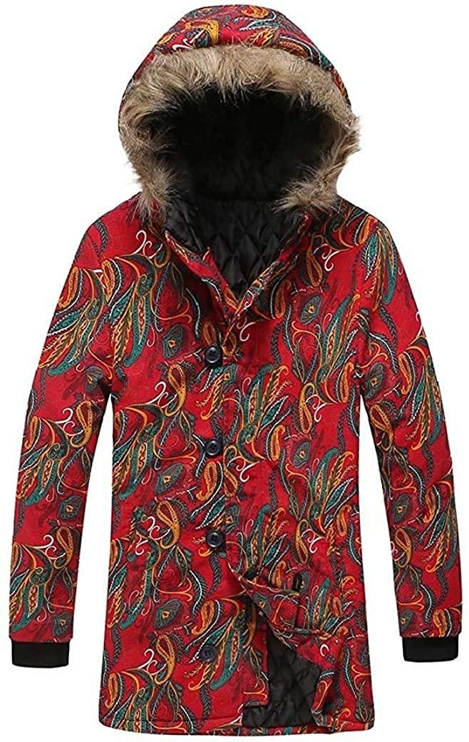 Aysselt Men Fur Collar Ethnic Slim-Fit Printed Mid-Length Hooded Pea Coat Jacket
