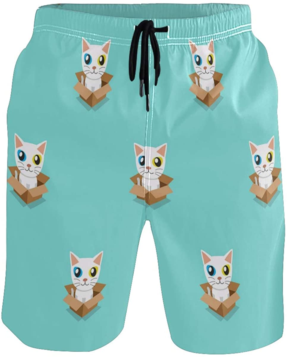 Mens Swim Trunks Quick Dry Cartoon Cute Cat Animal Beach Shorts for Men Funny with Pocket Beach Shorts