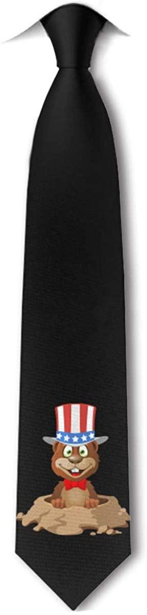 Hapy Groundhog Day Mens Tie Hipster Skinny Neckwear Leisure Neckties