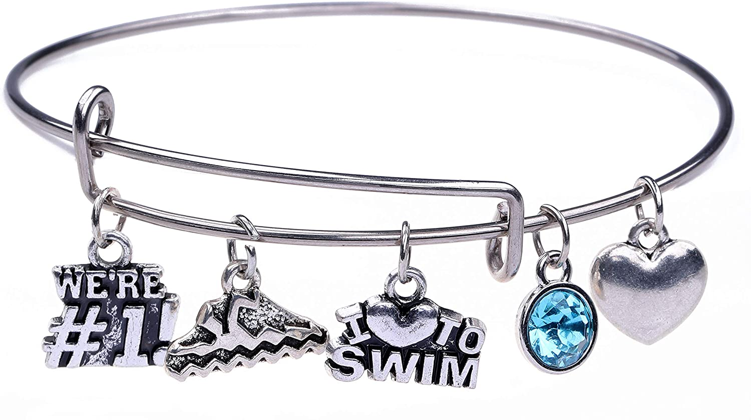 cooltime Antique Silver Swim Charm Bangle Bracelet Love Swimming Gifts for Boys Girls