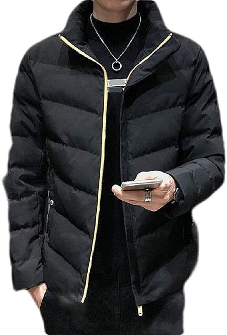 Xudcufyhu Mens Puffer Winter Overcoat Thicken Zipper Parka Jackets Coat