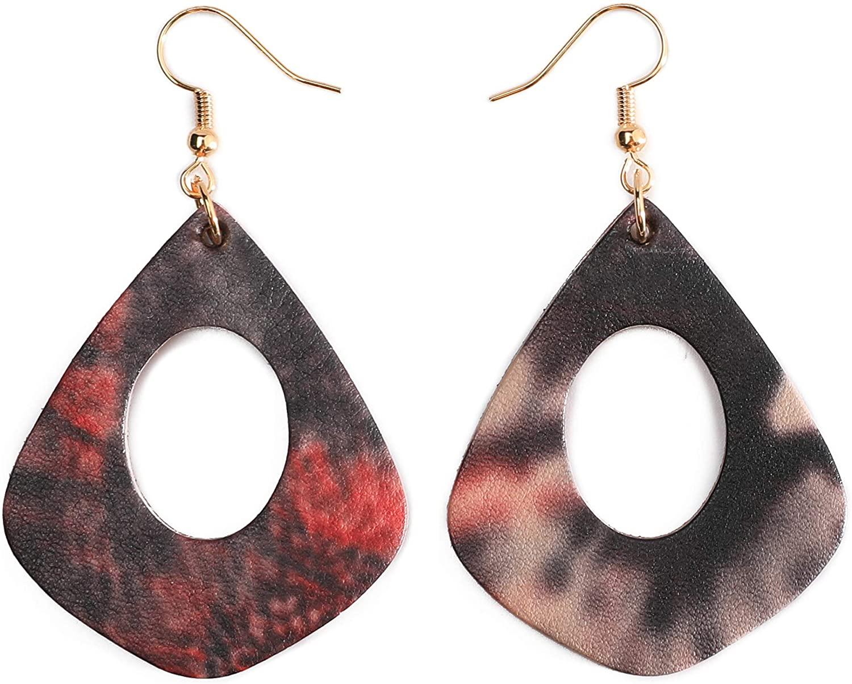 GELVTIC Genuine Leather Earrings for Women, Vintage Dangle Drop Earrings Lightweight for Teen Girls