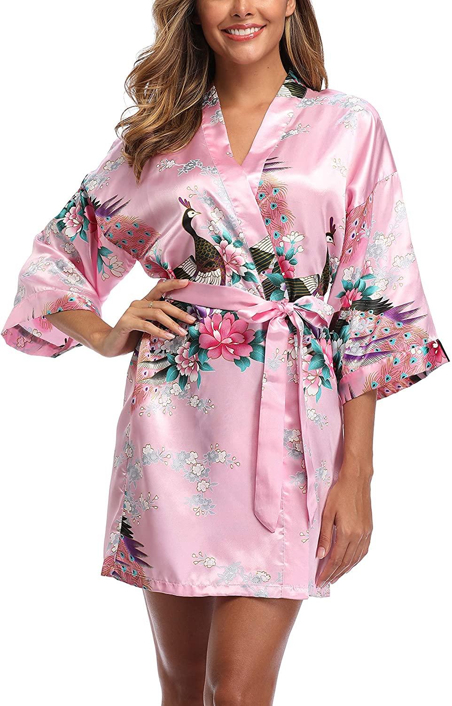 Women's Satin Bridesmaid Kimono Robes Short Peacock and Floral Bathrobe