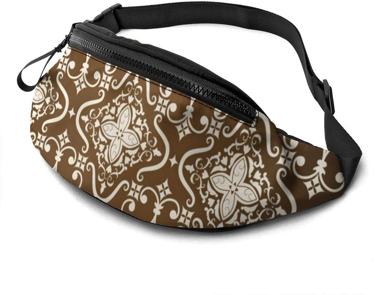 Classical Luxury Old Fashioned Damask Ornament Fanny Pack For Men Women Waist Pack Bag With Headphone Jack And Zipper Pockets Adjustable Straps
