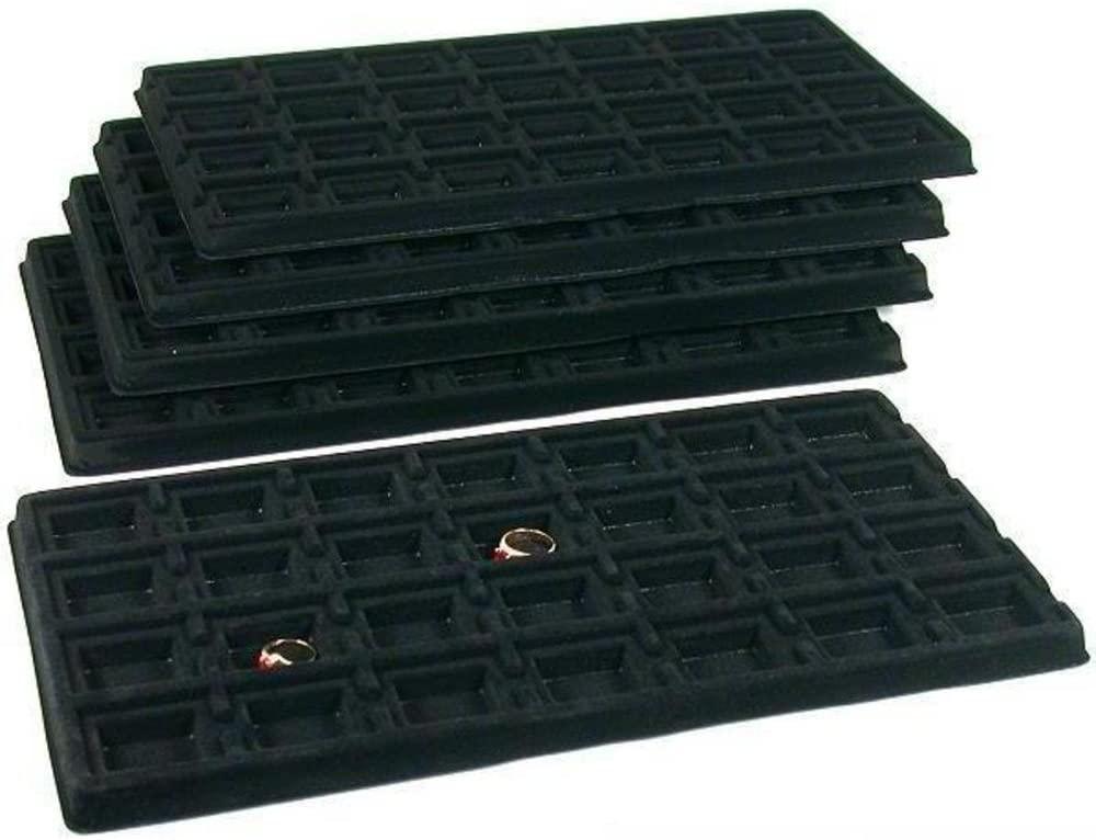 FindingKing 140 Slot Puff Earring Card Black Showcase Display Tray