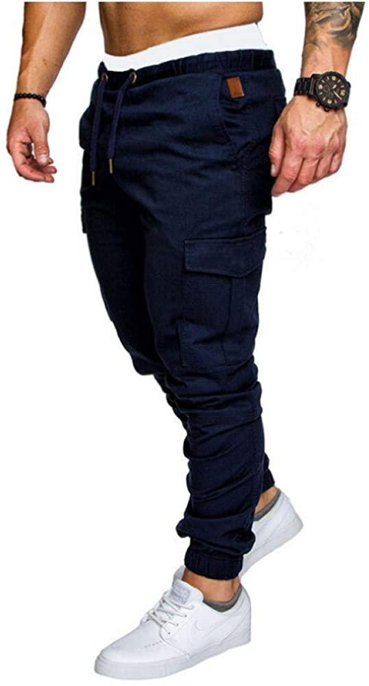 Comulish Mens Cargo Pants Skinny Twill Joggers Bottoms Casual Drawstring Leg Pocket Trousers Elastic Waist