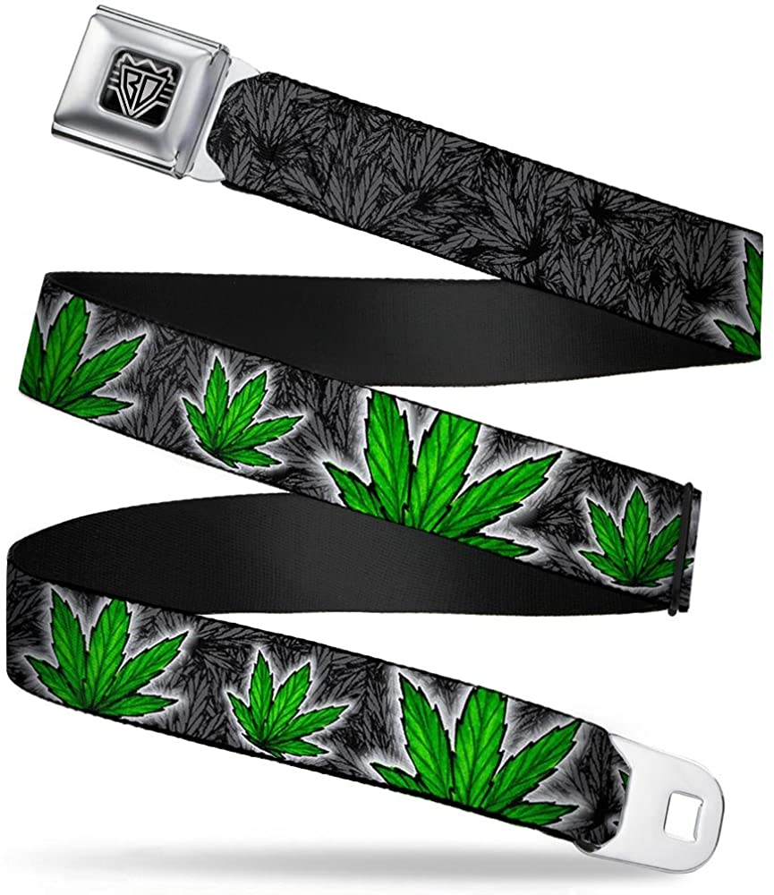 BUCKLE-DOWN INC. Unisex-Adult's Buckle-Down Seatbelt Belt Weed XL, Multicolor, 32-52 Inches