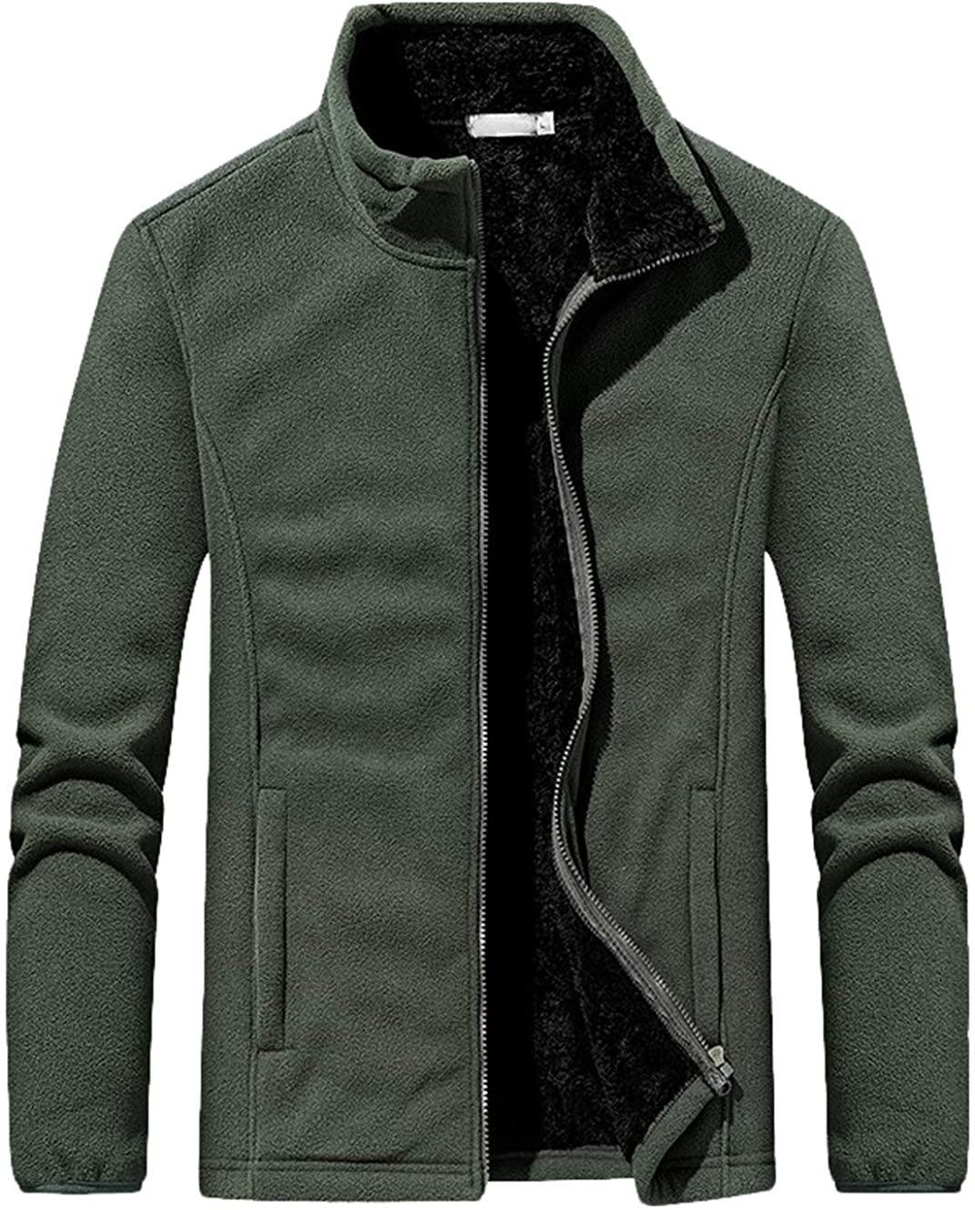 ebossy Mens Simple Sportswear Thicken Sherpa Lined Full Zip Soft Winter Polar Fleece Jacket