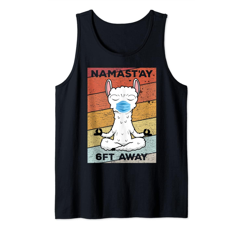Namastay 6 Feet Away Vintage Llama In A Face Mask Tank Top