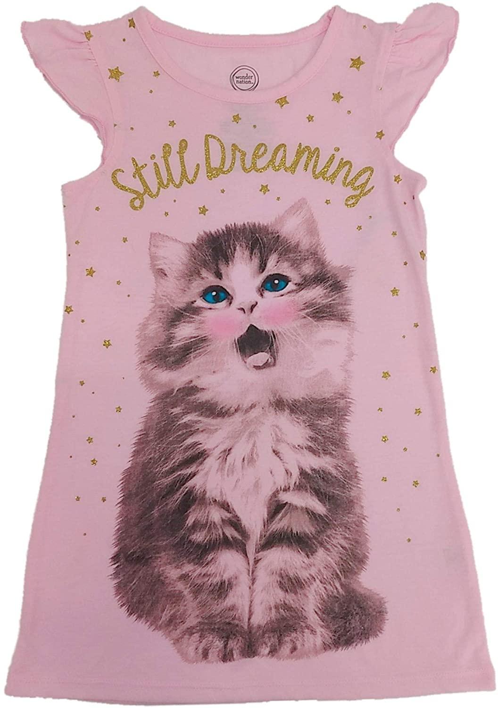 Girls Pink Still Dreaming Kitty Nightgown Glitter Night Gown Dress XS 4/5