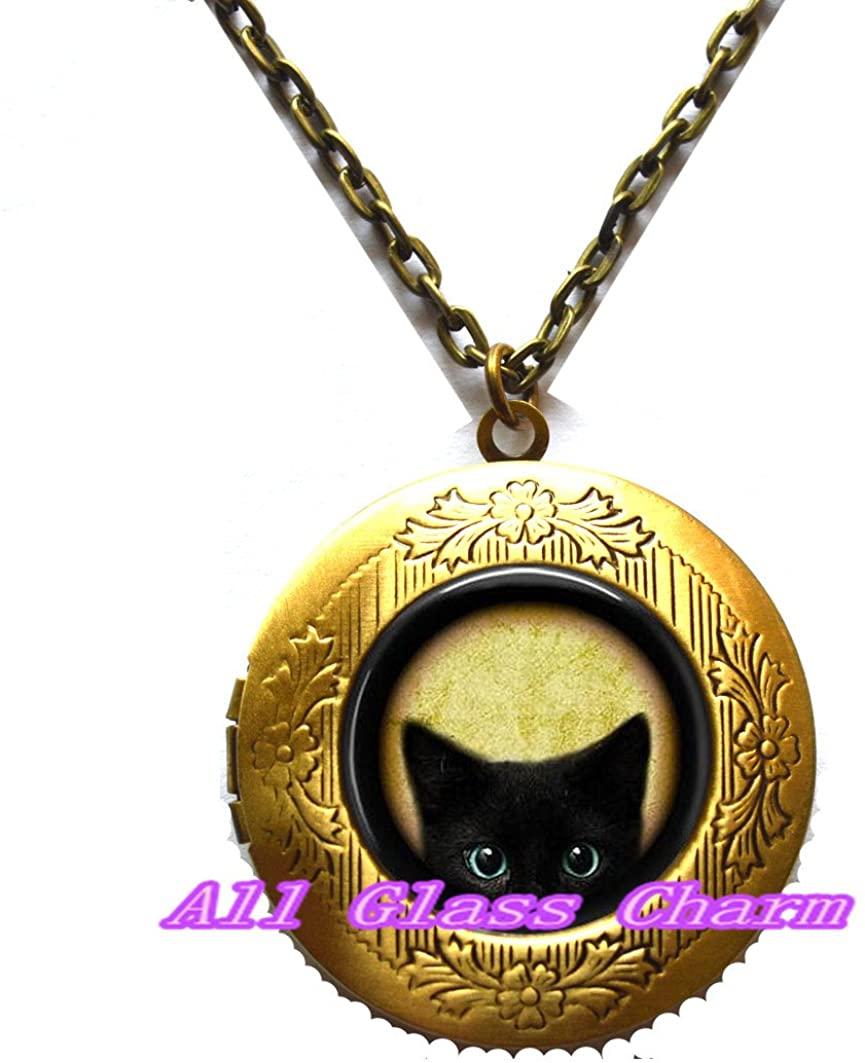 Beautiful Locket Necklace, Black Peeking Kitten - Cat Lover Jewelry - Black Cat Locket Necklace - Blue Eyed Cat - Peeking Cat Locket Necklace,AS0139