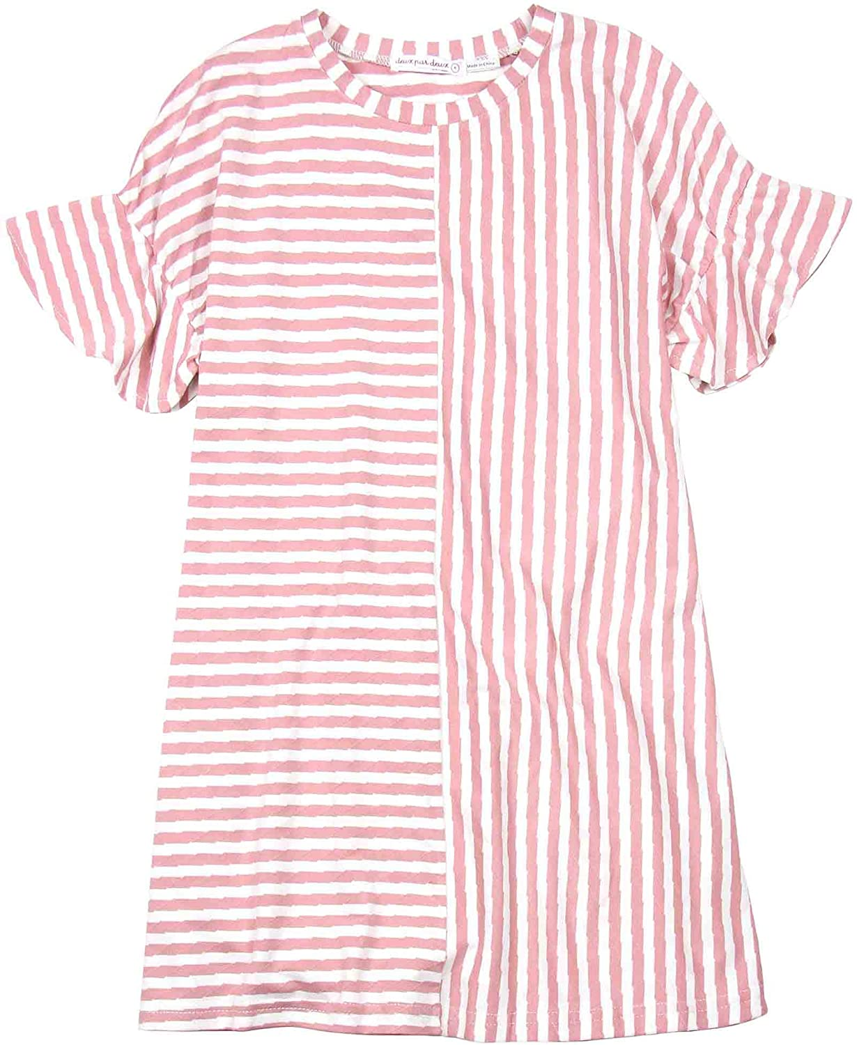 Deux par Deux Girls' Striped Dress in Pink Unicorn Hype, Sizes 5-12