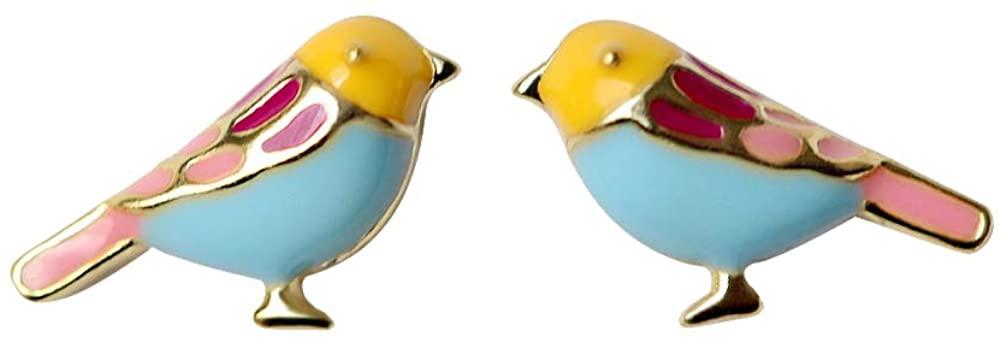 SaunterWay 925 Sterling Silver Bird Stud Earrings 18K Gold Plated/White Gold Plated Multi-Color Enamel Bird Earrings Studs Animal Jewelry Gift for Girls Women Hypoallergenic