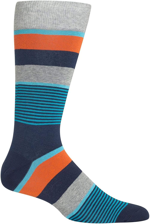 HotSox Mens Multi Mixed Stripe Socks, 1 Pair, Mens Shoe 6-12.5