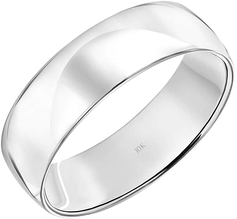 Men's 10K Rose, White or Yellow Gold 6MM Classic Plain Simple Wedding Band by Brilliant Expressions