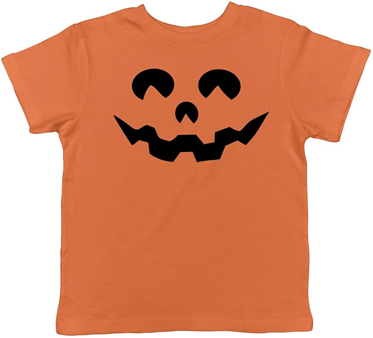 Toddler Cartoon Eyes Pumpkin Face Funny Fall Halloween Spooky T Shirt