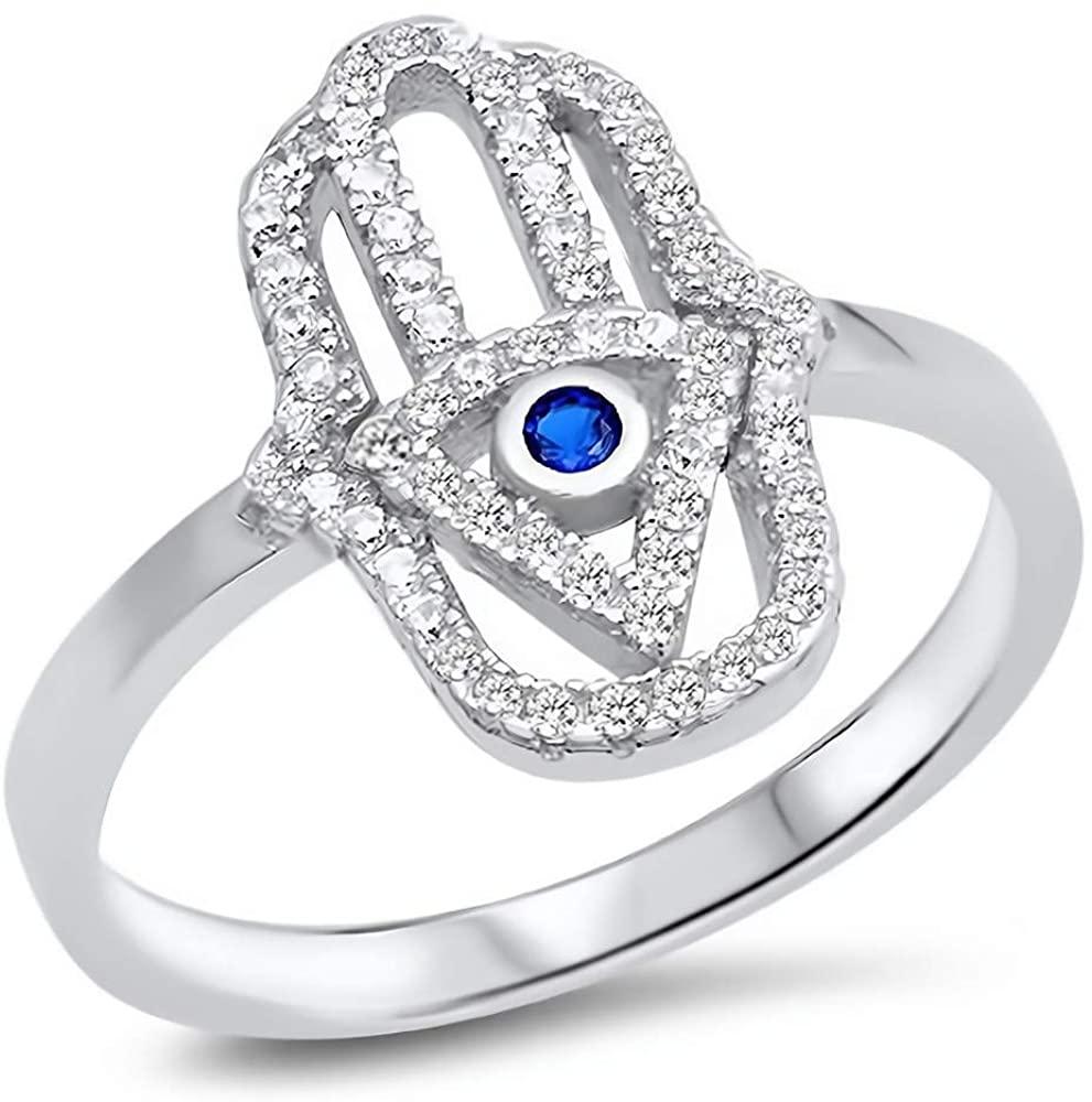 Glitzs Jewels 925 Sterling Silver CZ Ring (Royal Blue & Clear/Hamsa) | Cubic Zirconia Jewelry Gift