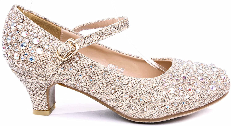 Apple Kids Sparkling Mary Jane Rhinestone Glitter Formal Dress Low Heel Pumps