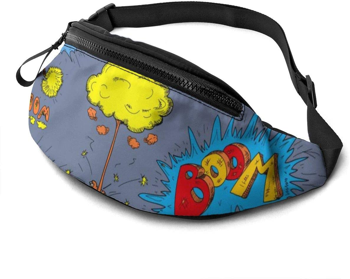 Funny Doodle Fanny Pack For Men Women Waist Pack Bag With Headphone Jack And Zipper Pockets Adjustable Straps