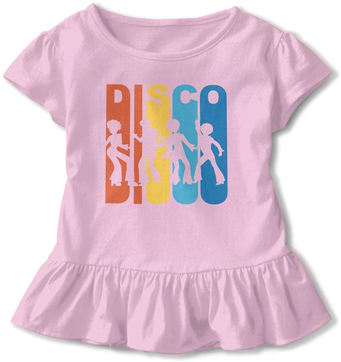 EASON-G Toddler Girls Ruffle T-Shirt Retro 1970s Disco Short Sleeve 2-6T