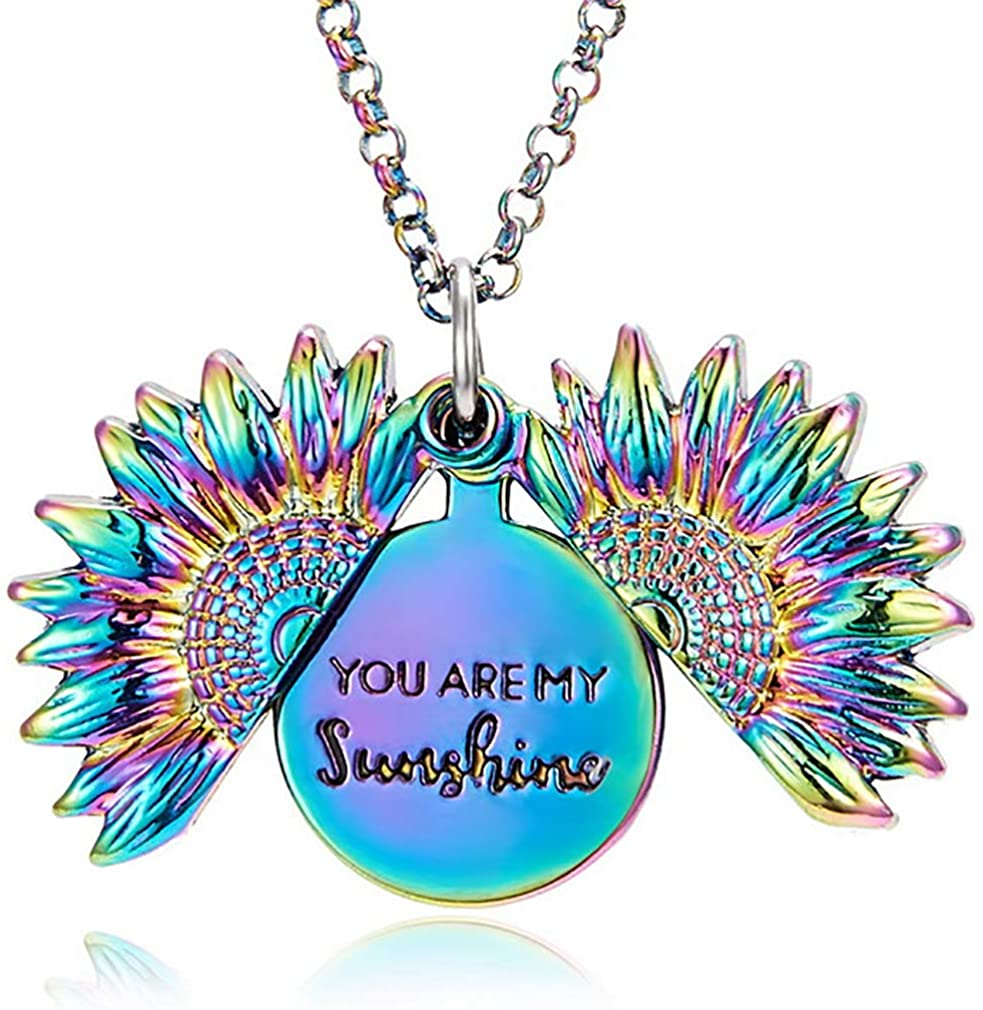 Sunshine Necklace Sunflower Locket Necklace Personalized You My Sunshine Necklace for Teens Women Girls Boys