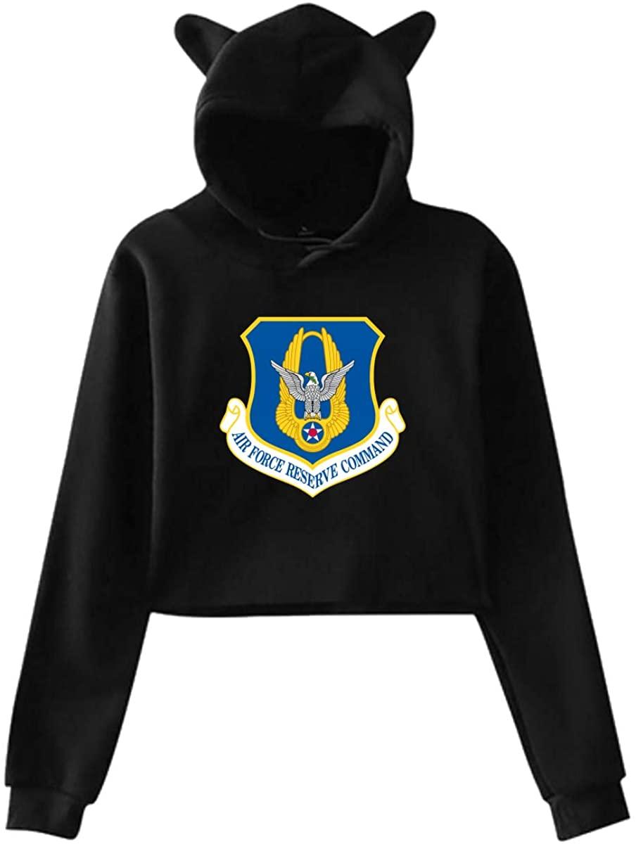 Air Force Reserve Command Womens Classics Cat Ear Fleeces Midriff-Baring Sweater