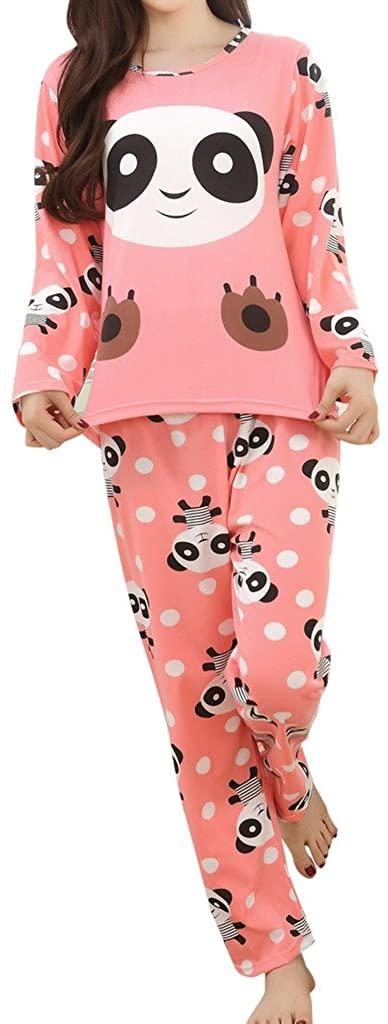 asher BABY Big Girls' Panda Pattern Cute Long Sleeve Pajamas Nightwear Sleep Sets