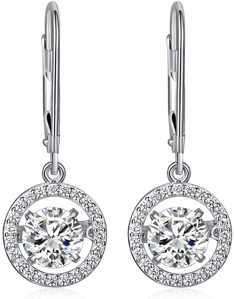 Special Unique Design Flickering Stone Dangle Drop Earrings Solid 925 Sterling Silver