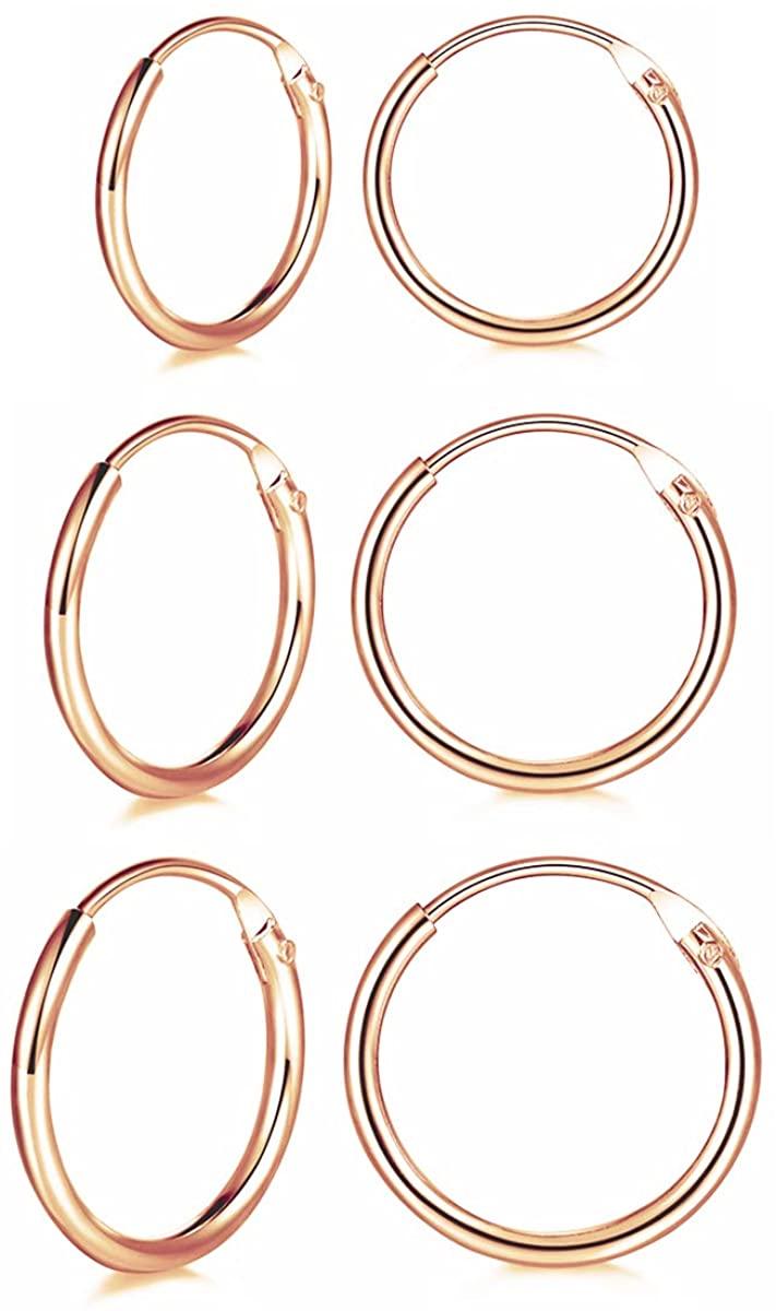 Silver Hoop Earrings for Women, 3 Pairs 925 Sterling Silver Cartilage Hoop Earrings Set for Men Boys Girls, Hypoallergenic Small Sleeper Hoops Rings Tragus Earrings Nose Lip Rings, 10mm / 12mm / 14mm
