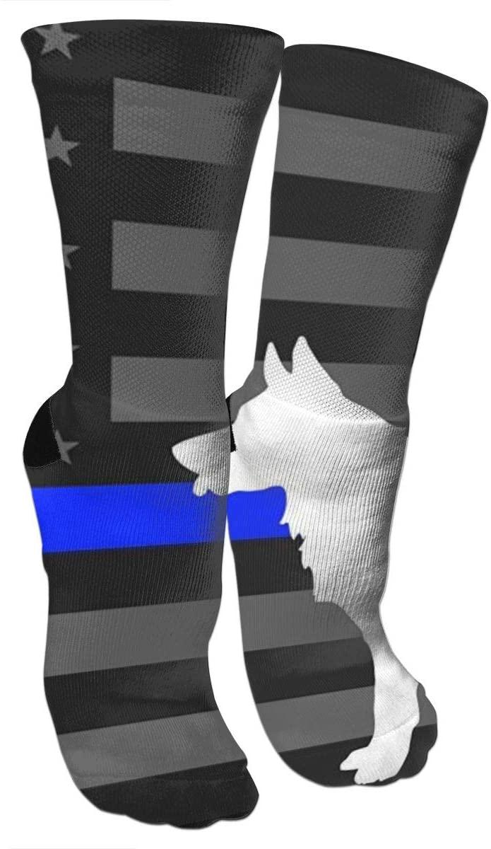antspuent Police K9 Thin Blue Line Compression Socks Unisex Fun Novelty Crazy Dress Crew Socks