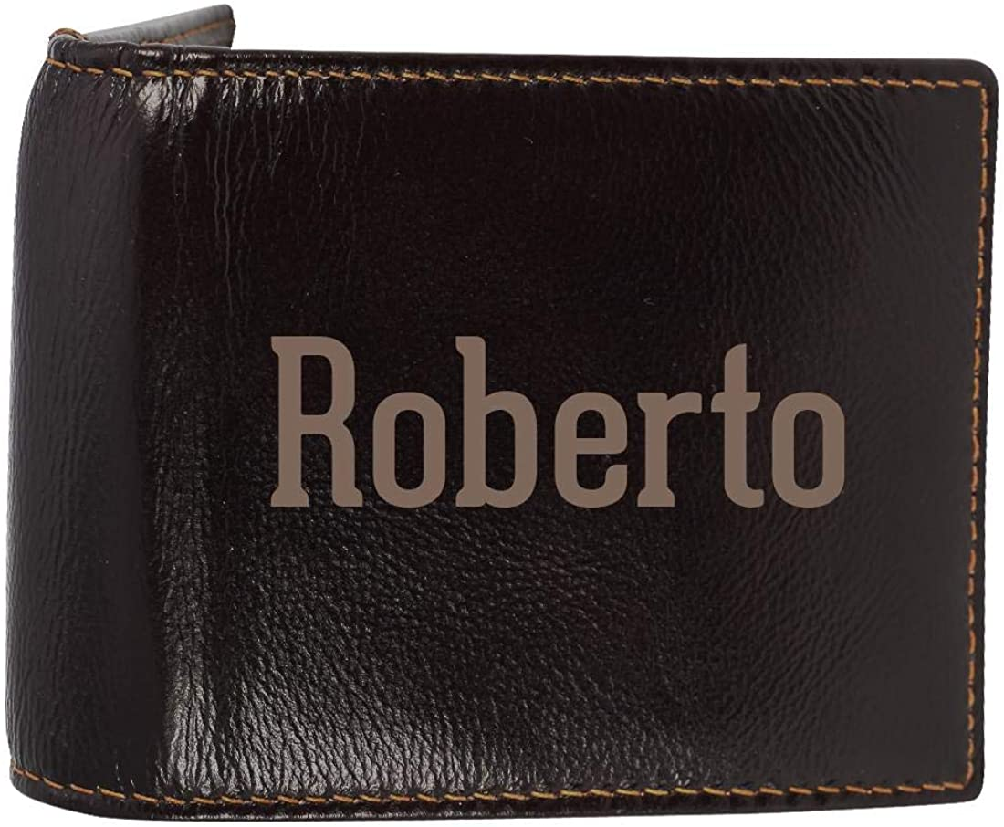 Roberto - Genuine Engraved First Name Soft Cowhide Bifold Leather Wallet