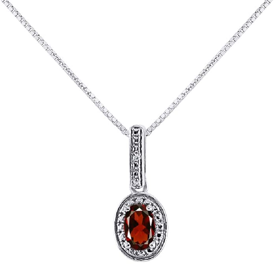 Diamond & Garnet Pendant Necklace in 14K White Gold With 18 Gold Chain - January Birthstone Color Stone Halo Designer