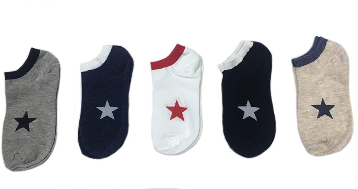 5 Pairs Men's Sports Socks Lot Crew Short Ankle Casual Star Cotton Socks