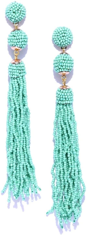 Crunchy Fashion Bollywood Style Party Wear Bohemian Green Beaded Tassel Earrings for Women & Girls