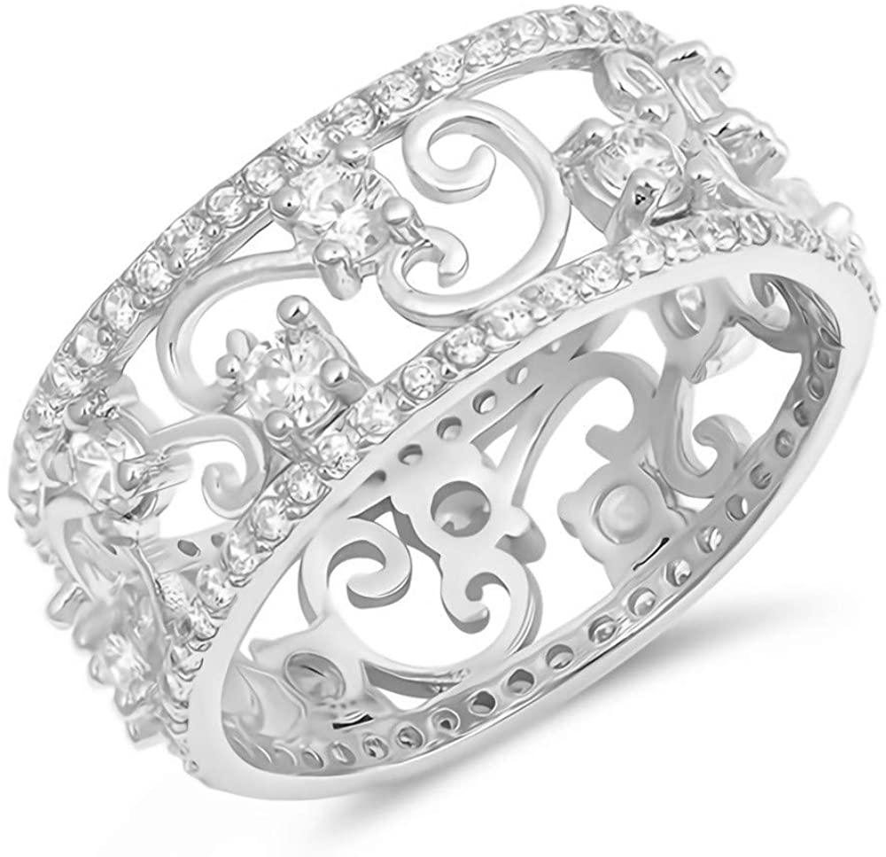Glitzs Jewels 925 Sterling Silver CZ Ring (Clear/Vines)   Cubic Zirconia Jewelry Gift