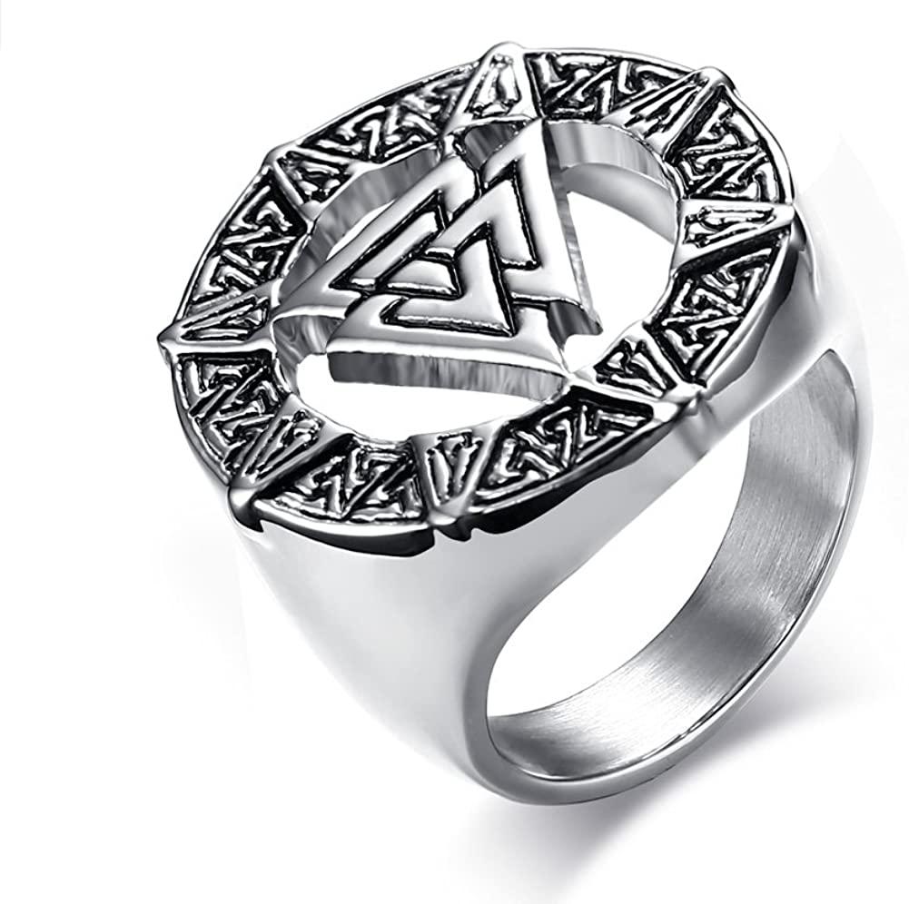 Stainless Steel Valknot Nordic Rune Hrungnir Knot Viking Signet Wedding Band Ring Pewter